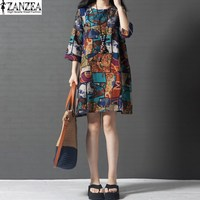 2017 ZANZEA Womens Vintage Floral Print Crewneck 3 4 Sleeve Cotton Pockets Tunic Mini Dress Summer