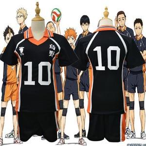 Image 3 - Haikyu!! Haikyuu קוספליי תלבושות Karasuno Koukou תיכון מועדון כדורעף Hinata Shoyo חולצת ספורט גופיות