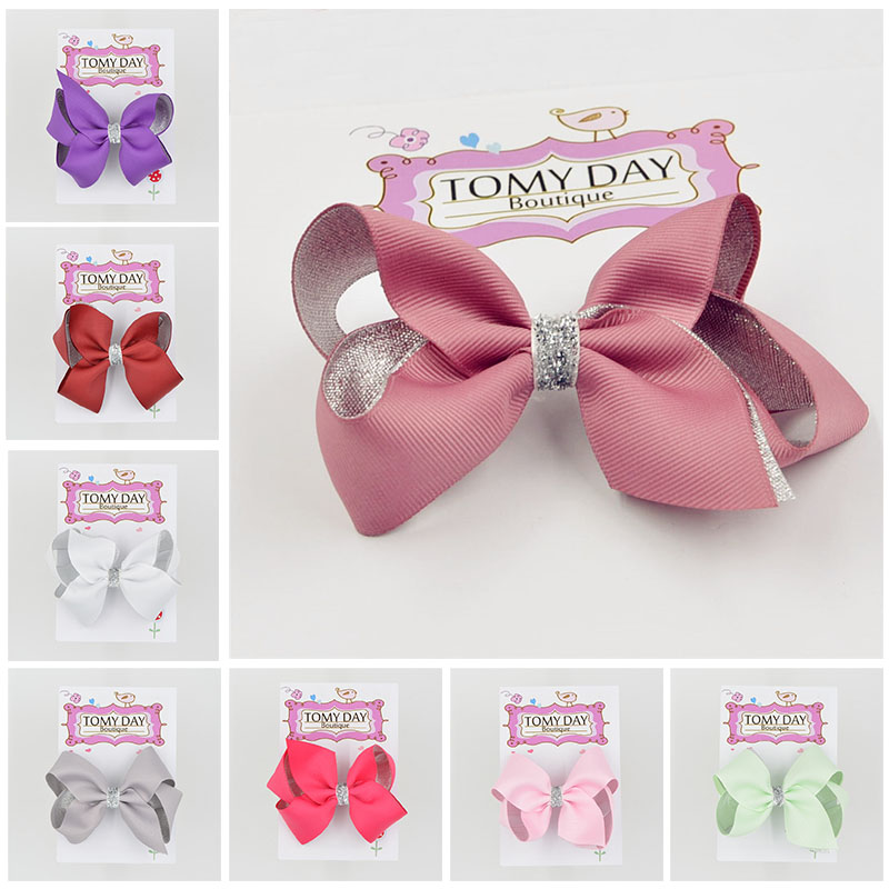 4.5 Inch two layers silvery Solid Ribbon Hair Clips Boutique Bows hairpins For Kids Headwear Hair Accessories TOMY DAY 1pcs 4 7 inches boutique kids hairpins headwear big hair clips with ribbon bows for girls babies barrettes children accessories