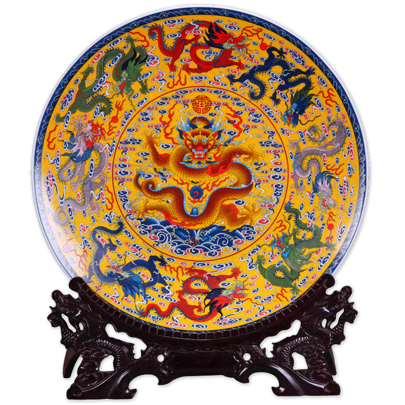 Fengshui Art Ceramic Ornamental Plate Ancient China Nine Dragons Decoration Wood Base Porcelain Traditional Chinese Plate Set