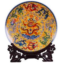 Fengshui Art Ceramic Ornamental Plate Nine Dragons Plate Decoration Plate Wood Base Chicken Porcelain Plate Set