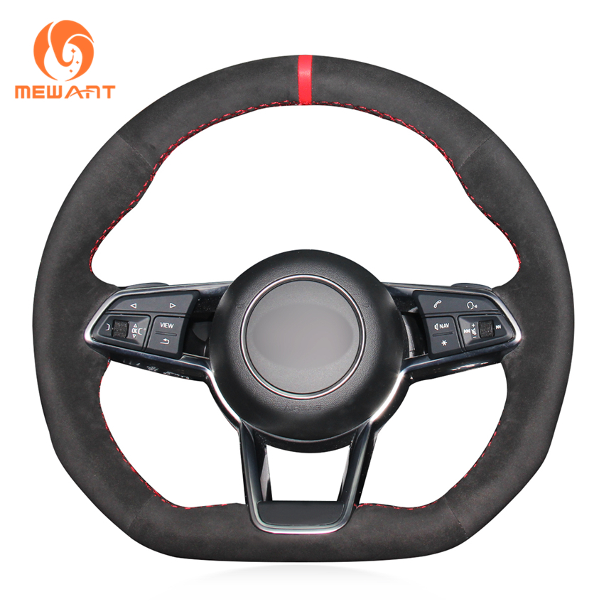 Mewant Black Suede Red Marker Comfortable Car Steering Wheel Cover