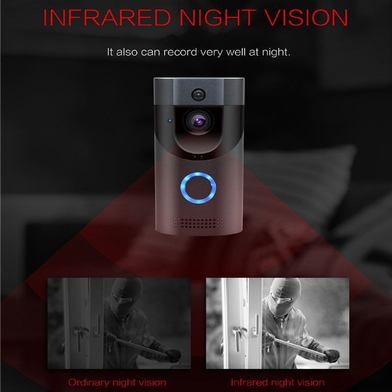 Anytek B30 WIFI sonnette B30 IP65 étanche Smart vidéo porte carillon 720 P interphone sans fil pour alarme IR vision nocturne caméra IP - 2