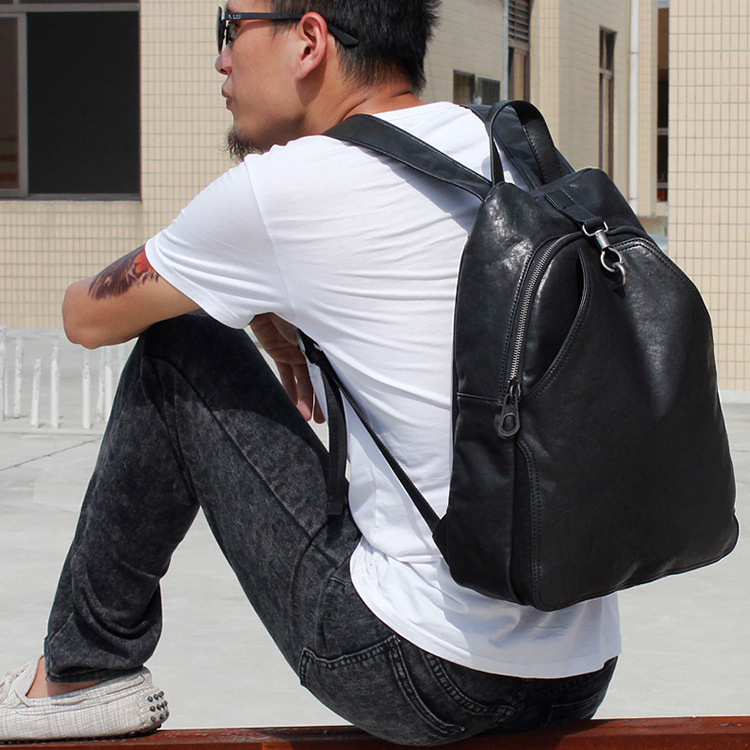 Fashion Preppy Style Unisex School Backpack Solid Black Men Leather Backpack Travel Backpack Bag Men Bag цена 2017