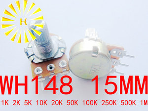 WH148 15mm 3Pin 1 K 2 K 5 K 10 K 20 K 50 K 100 K 250 K 500 K 1 M OHM 0.5 W Linear Taper Rotary Potenciômetro De Carbono Pot x 100 PCS