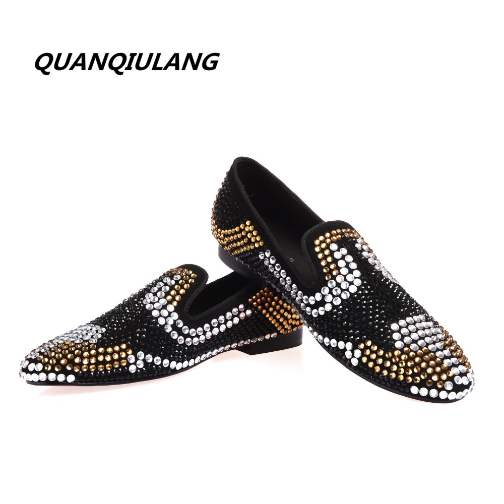 2017 new brand designer red shoes gold diamond leather shoes diamond leather fashion design men's casual shoes 39-47