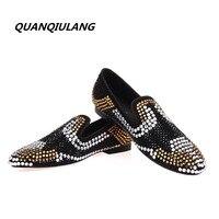 2017 New Brand Designer Red Shoes Gold Diamond Leather Shoes Diamond Leather Fashion Design Men S