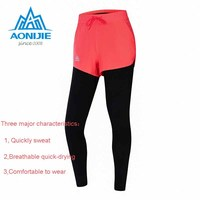 AONIJIE Compression Tight Long Pants Sports Trousers Fake Two Running Fitness Elastic Tights Were Thin Autumn