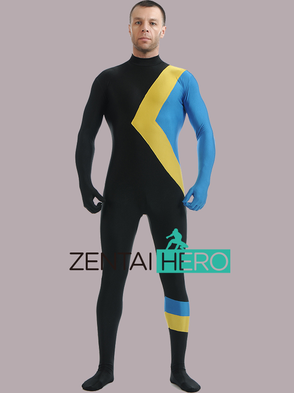 Free Shipping DHL Cool Blue Black Yellow And Green Lycra Spandex Zentai Suits American Super Hero Costume LZ119