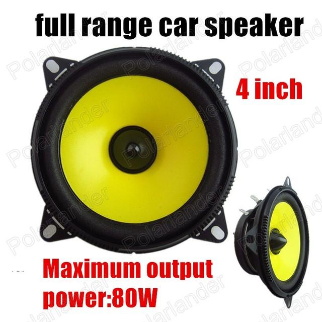 Gran sonido de alta calidad 2x80 W para todos los coches de audio estéreo amarillo 4 pulgadas de altavoces del automóvil altavoz bocina de rango completo altavoz
