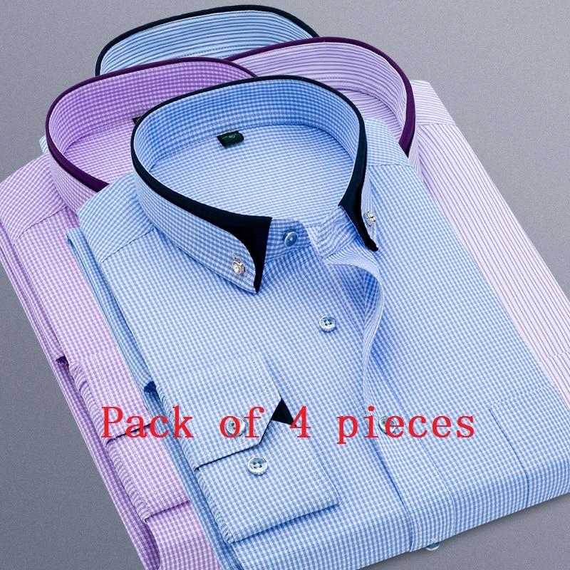 KUYOMENS Men Shirts Stand Collar Long Sleeve Velvet Dress Shirt Man Business Fashion Chemise Masculina Camisa