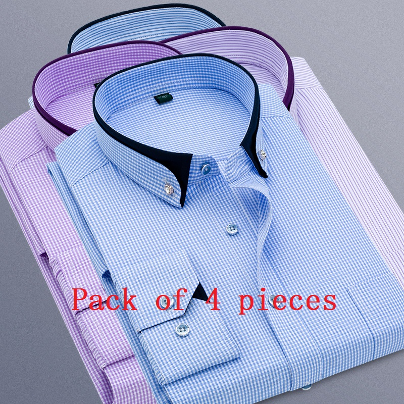 Pack Of 4 Pieces 2019 New Men Stirped Plaid Casual Dress Shirts Long Sleeved Black Collar Design Style Wedding Tuxedo Shirt 5XL