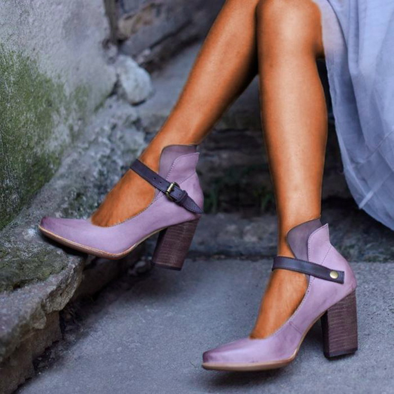 Monerffi Sandals Shoes Chaussures Buckle-Strap Chunky-Block High-Heel Femme Solid-Color