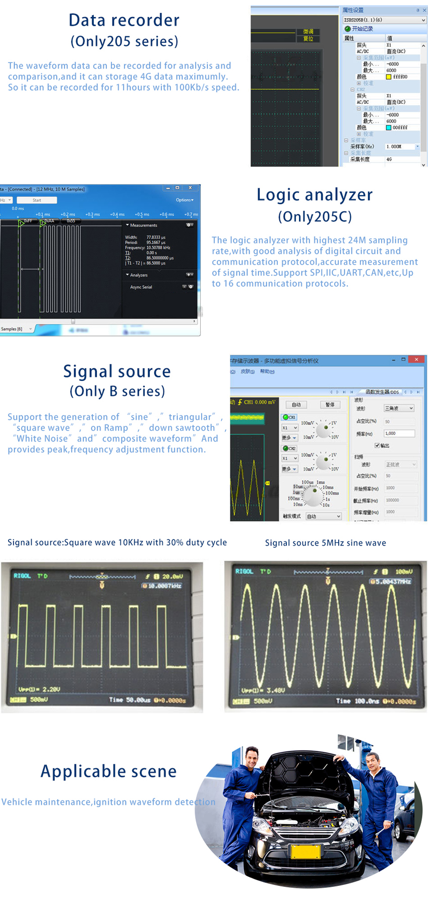 ISDS220B Virtual PC USB Oscilloscope 200M Sample Rate 60M Bandwith with Spectrum Analyzer + DDS Signal Source Generator