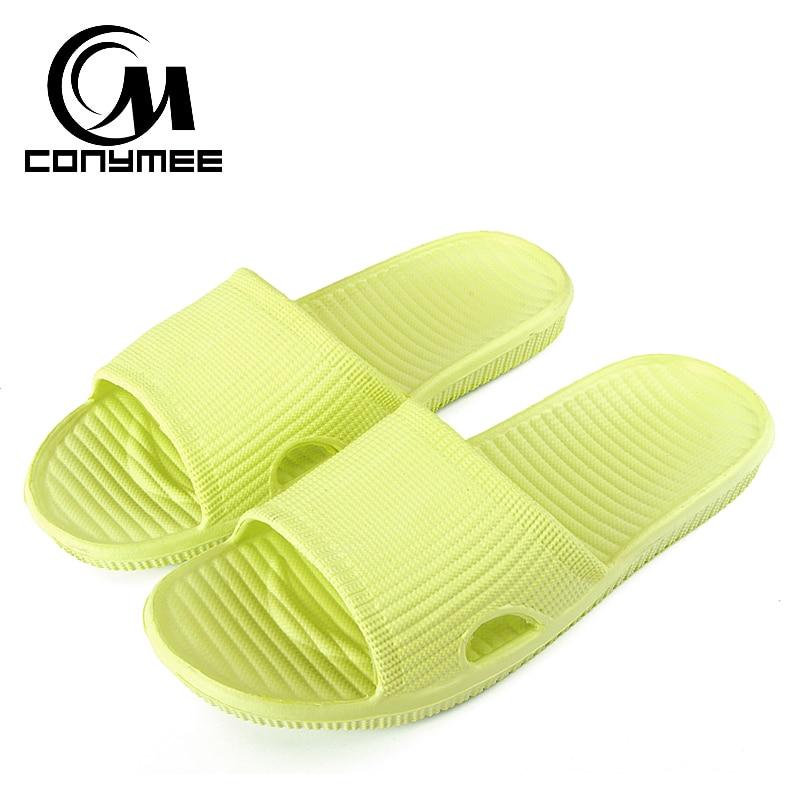 CONYMEE Summer Shoes Woman Flat Sandals 2019 New Men Women Indoor Home Slippers Flip Flops Solid Bath Slippers Female Beach Shoe
