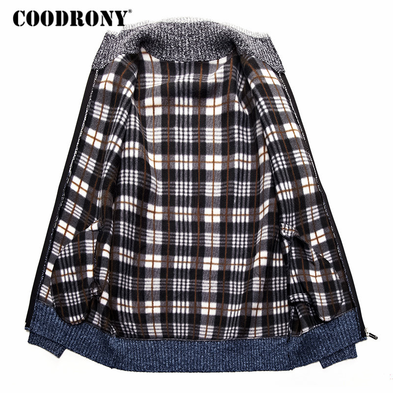 Image 4 - COODRONY Cashmere Wool Sweater Coat With Cotton Liner Zipper  Coats Sweater Men Clothes 2018 Winter Thick Warm Cardigan Men  H003Cardigans