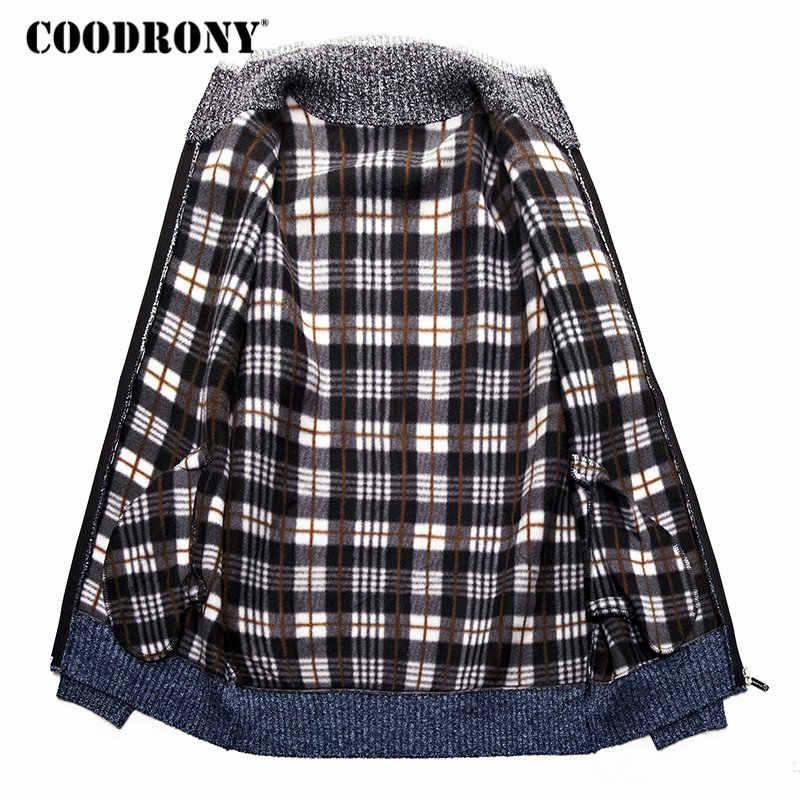 COODRONY кашемировый шерстяной свитер пальто с хлопковой подкладкой на молнии с капюшоном; свитер Для мужчин одежда 2018 зимние толстые теплые детские куртки и кардиганы сезона Для мужчин H003