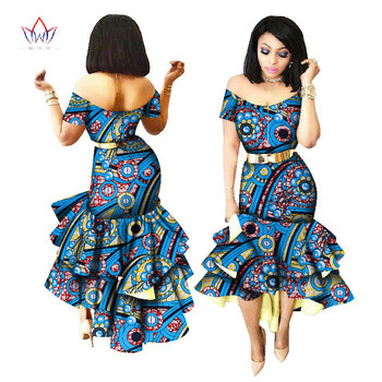 2019 New African Wax Print Dresses for Women Bazin Riche Cotton Party Dress Dashiki Sexy African Fashion Clothing WY2205 3