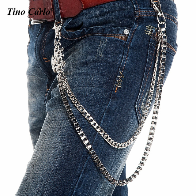 New Men 2 Strands Silver Metal Wallet Chain Fashion Skull Boxing Jab Keychain Rock Biker Heavy Jeans Chain 2 Layers 160g KB49