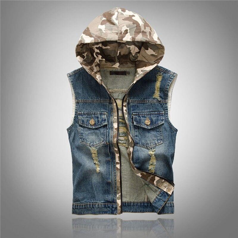 New Men s Hooded Camouflage Denim Vest Men Camo Brand Clothing Male Jeans Waistcoat Man Sleeveless