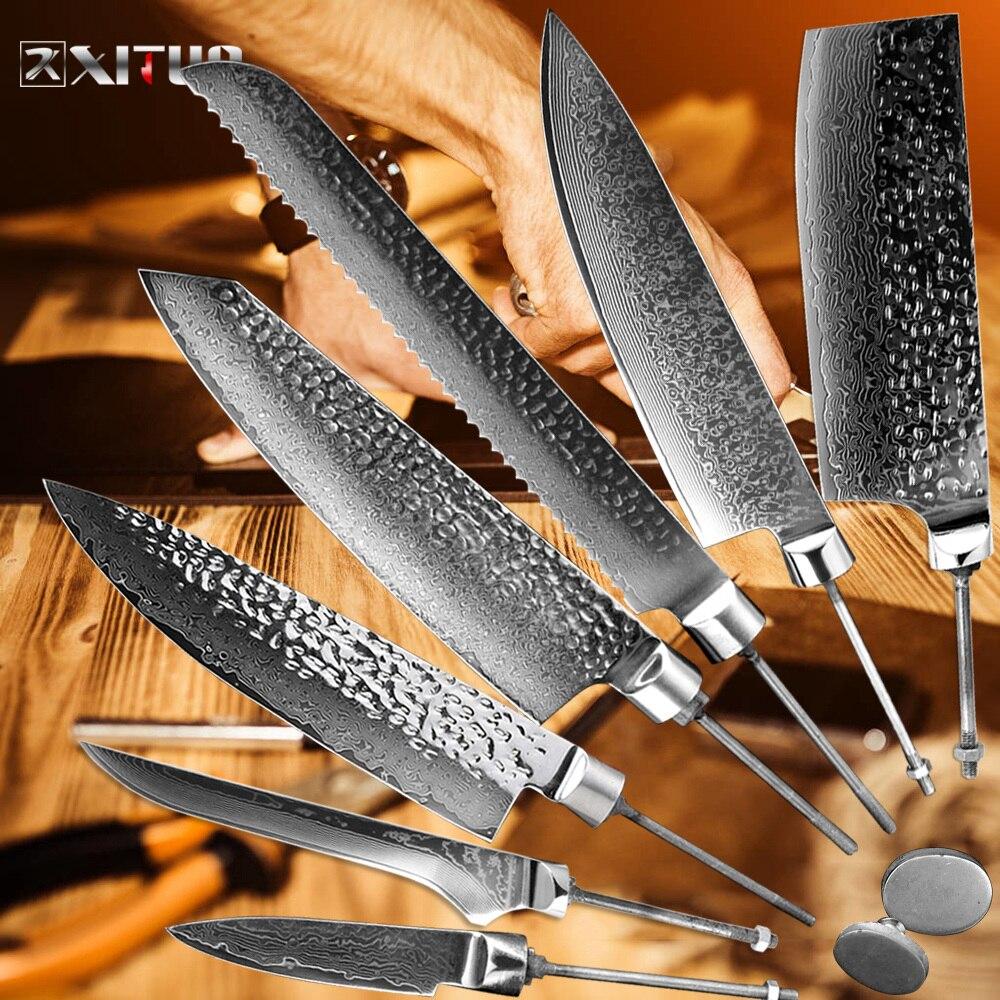 XITUO Koksmes Japan Damascus Koolstofstaal Mes Blank DIY Blade Zonder Handvat Brood Gekarteld Snijden Cleaver Gyuto Tool