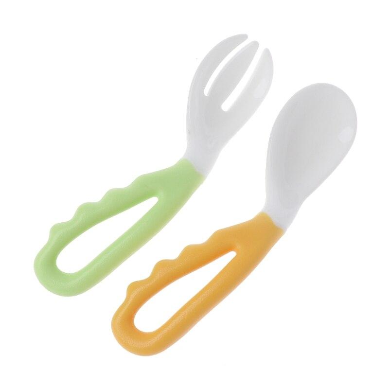 2 шт гибкий детский набор ложка и вилка регулируемая детская обучающая посуда - Цвет: Оранжевый