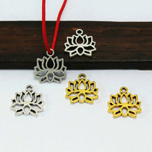 TJP 20 pcs Antique Silver/Gold Tone Lotus Flower Charms Pendants Hollow Open for DIY Necklaces Jewelry Making Findings 12x13mm