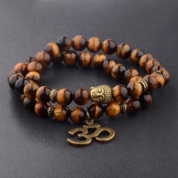 Charm Retro Buddha Bead Bracelet Men Black Natural Stone Chakra Bracelets Erkek Bileklik Bracelet Homme AB226 1
