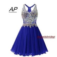 ANGELSBRIDEP платье для выпускного вечера с v-образным вырезом, сексуальное коктейльное платье выше колена, модные вечерние мини платья размера плюс с хрустальными бусинами, 8 класс