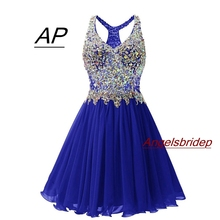 ANGELSBRIDEP V Neck Homecoming Dresses Sexy Above Knee Cocktail Dress Fashion Plus Size Crystal Beads Mini 8th Grade Party Gowns