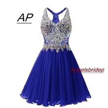 ANGELSBRIDEP V ausschnitt Homecoming Kleider Sexy Über Knie Cocktail Kleid Mode Plus Größe Kristall Perlen Mini 8th Grade Party Kleider