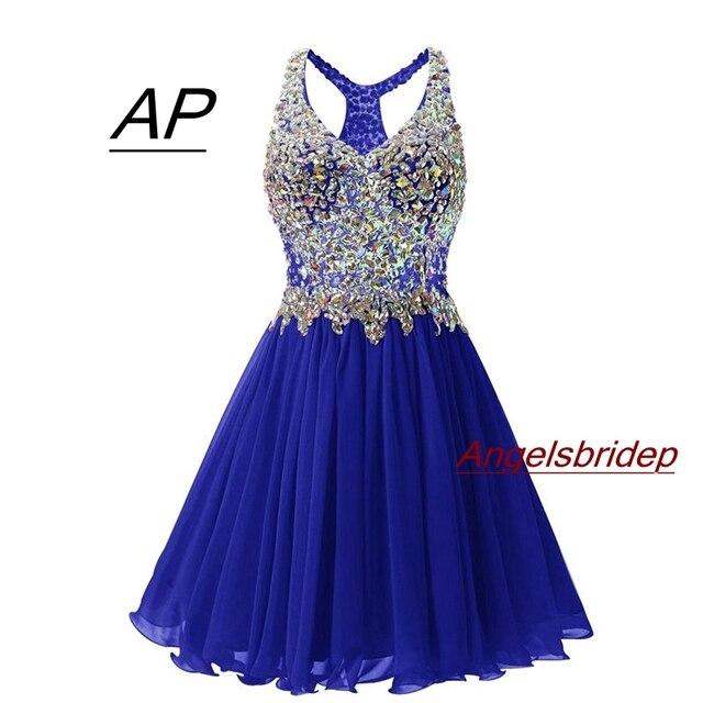 ANGELSBRIDEP v yaka mezuniyet elbiseleri seksi diz üstü kokteyl elbise moda artı boyutu kristal boncuklar Mini 8th sınıf parti törenlerinde