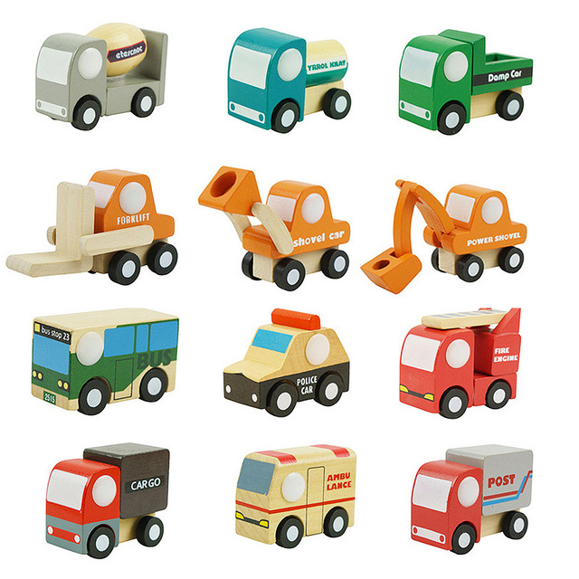 12 Pcs Wooden Disassembly Assembly Cartoon Car Kids Child Toys Mini