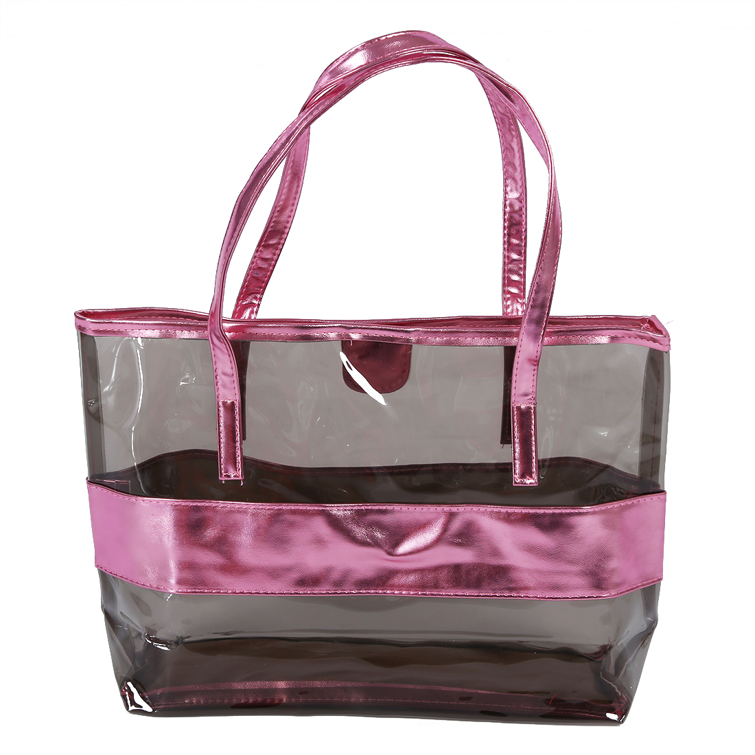 Waterproof Half Transparent Hand Bag, PVC Beach Bag and Polyester with Small Bag