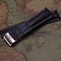 Браун Крокодил Шаблон Ремешки натуральной кожи с белой линией часы аксессуары Rosegold нержавеющей стали развертывания 22 мм