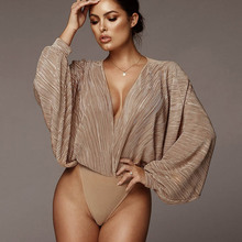 NiceMix 2019 Deep V-Neck Patchwork Sexy Bodysuit Women Fashion Long Sleeve Loose Rompers Spring Casual Jumpsuit O