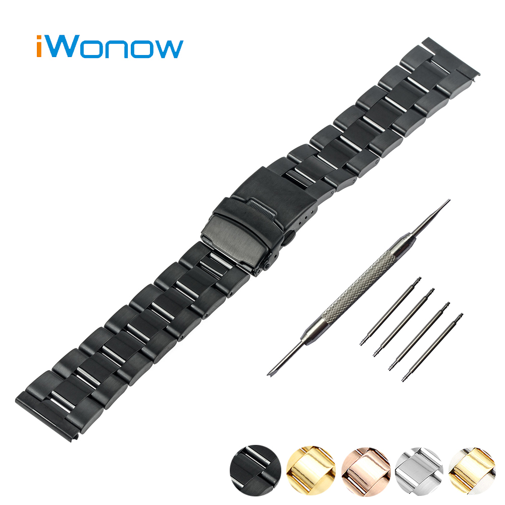 Stainless Steel Watch Band 20mm for Samsung Gear S2 Classic R732 / R735 Safety Buckle Watchband Strap Wrist Belt Bracelet Black black silver stainless steel buckle wrist watch straps for samsung gear s2 classic watchband with remover tool free