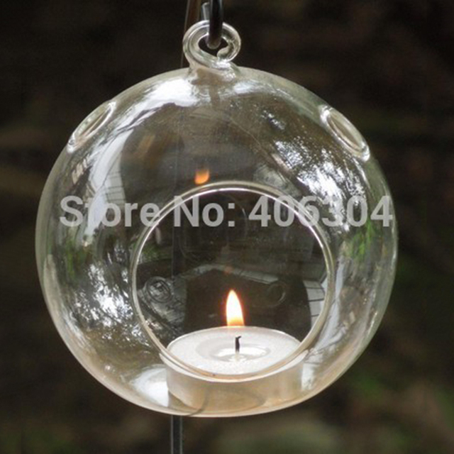 Free Shipping 12cm Hanging Gl Bubble Candle Holder With Flat Bottom 3 Holes Christmas Clear Ball Wedding Party Decoration
