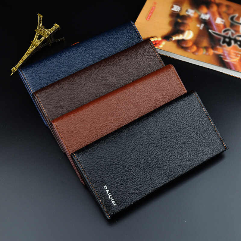 Повседневный мужской кошелек Длинный кошелек двойной мужской кошелек брендовый известный кожаный Длинный кошелек клатч мужской кошелек ID держатель для карт