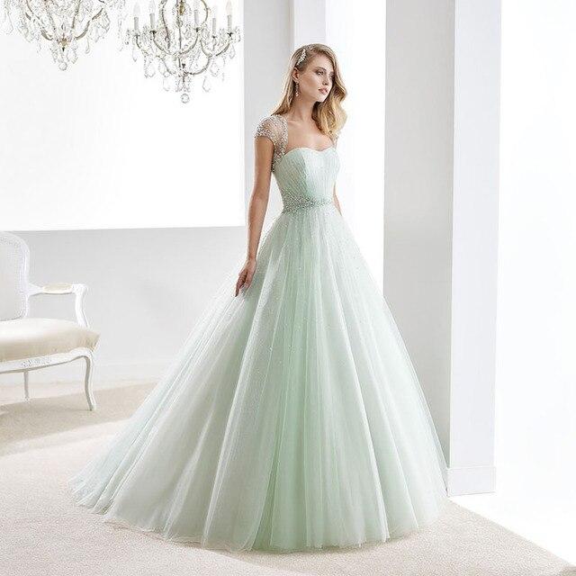 2016 vestido de novia verde menta sweetheart cap manga vestido de