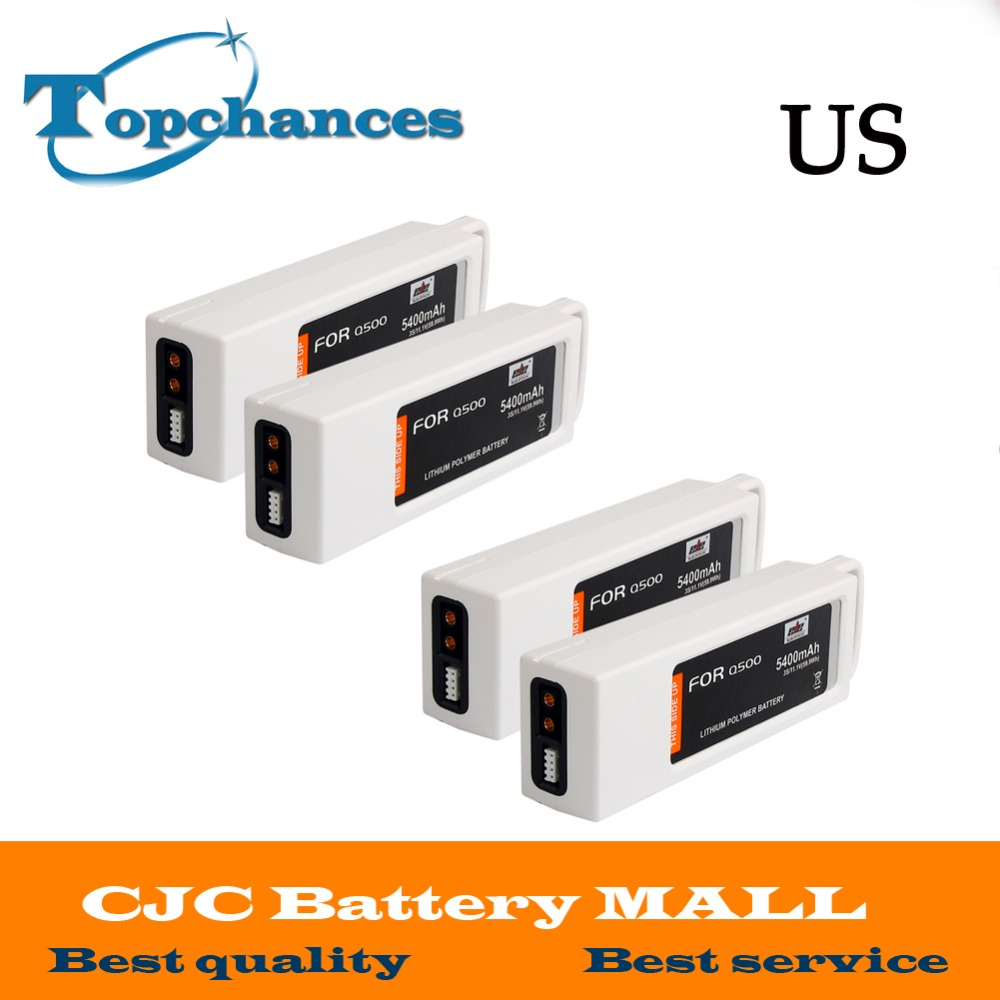 US High Quality 4PCS 5400mAh 11.1 Volt Lipo Battery For Yuneec Q500 Series RC Drone 11.1V 3S/3Cell free customs taxes high quality skyy 48 volt li ion battery pack with charger and bms for 48v 15ah lithium battery pack