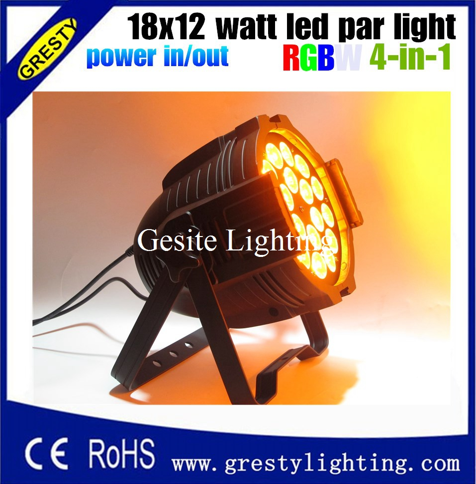 4pcs/lot 18x12w led par 4in1 RGBW led par can light high powerful stage led 18*12W wedding with power in power out  4pcs lot the brightest 4 8 dmx channels led flat par 18x12w rgbw 4in1 led par can light with power in power out