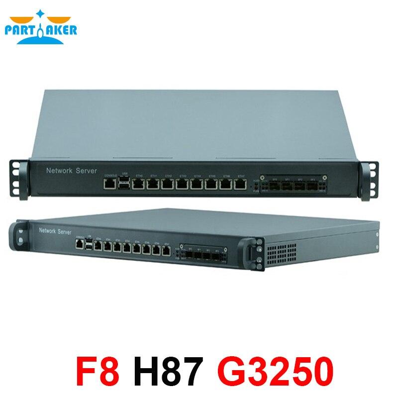 1U Pare-Feu réseau Routeur Système avec 8 ports Gigabit lan 4 SPF Intel G3250 3.2 ghz Mikrotik PFSense ROS Wayos 4g RAM 64g SSD