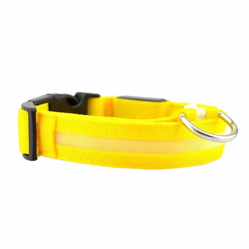 New Hot New Pet Collar Segurança Nylon Coleira para cães Luminosa Para Iluminado Coleira de Cachorro LEVOU Brilho Colar De Nylon Sólidos S ~ XL & 915