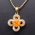 Beautiful Flower Gold Plated Colorful AAA Zircon White/bule/pink/orange Fire Opal Necklace Pendant For Women 6colors