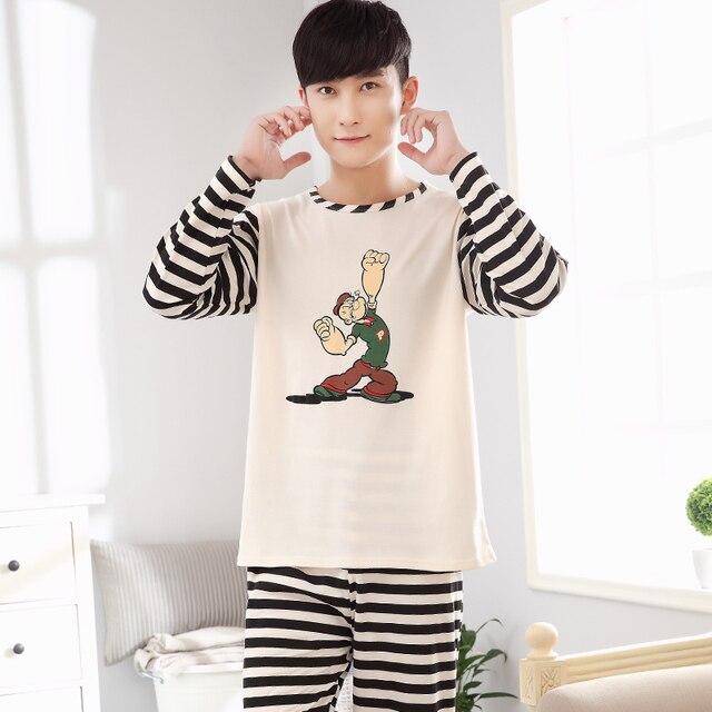 2017 cotton pajamas tracksuit men's large size men Ju Jiafu autumn cotton long-sleeved suit autumn