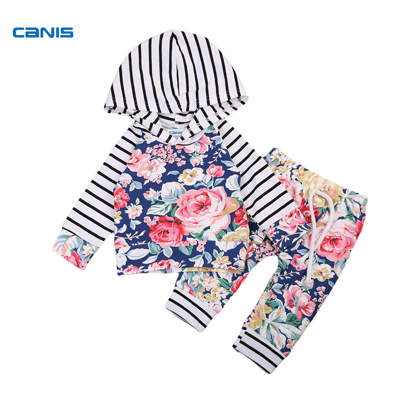 Fashion Floral Newborn Baby Girls Clothes Striped Long Sleeve Autumn Hooded Tops Sweatshirt +Pants Home Outfits 2Pcs Set 0-24M