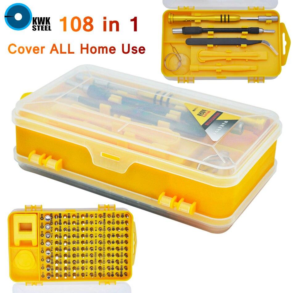 Juego de Herramientas para el hogar almohadilla ordenador PC teléfono móvil gafas Digital dispositivo electrónico reparación herramientas hogar Bit 108 Unid 108 en 1
