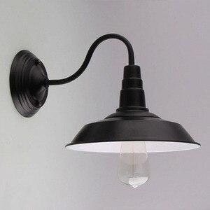 Image 2 - Vintage Lampada Da Parete Ha Condotto La Luce E27 Edison luce Loft Retrò Vernice Ferro Americano Vecchio Stile Semplicità Nero Copertura del Pot con lampada Ombra