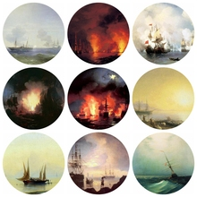20pcs 12~40mm Artist Ivan Aivazovsky Art Paintings Collectio